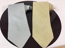 Zegna Designer Mens 2 Tie Lot Italy NWT Blue Silk, Yellow Woven Wool Tweed