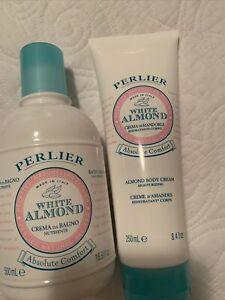 PERLIER WHITE ALMOND BATH CREAM 16.9 Oz + Body Cream 8.4 Oz New