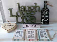 5 QUOTATION PLAQUES LAUGH LOVE LIVE  <3 RELAX <3 DREAM FAB CONDITION FREE P&P