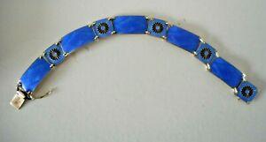 Aksel Holmsen Vintage Scandinavian Jewellery Blue Enamel & 925 Silver Bracelet