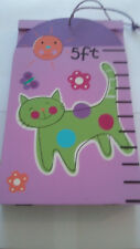 Growth Chart Track & Measure Height Kitty Cats Flowers Girls Pink