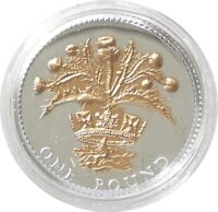 2008 Royal Mint Scottish Thistle £1 One Pound Silver Gold Proof Coin