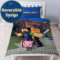 MINECRAFT PANEL SINGLE DUVET COVER SET REVERSIBLE KIDS BEDDING