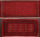 Set of 2 Vintage RED Geometric Bokhara Oriental Area Rug Hand-knotted Wool 2'x4'
