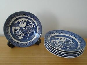 Set of 6 Willow Pattern 19.5cm Soup Dessert or Pasta Bowls