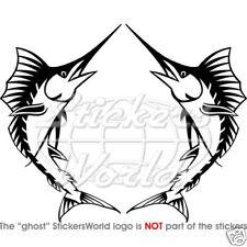 "Pesce SPADA MARLIN pesce 140mm / 5.6 ""Adesivi in vinile, decalcomanie x2"
