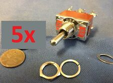 """5 DPDT Momentary-Off-Momentary ON/OFF/ON Toggle Switches 15A 1/2"""""""