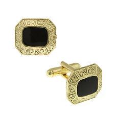 Embossed Gold Tone Square Persian Black Enamel Cuff Links Cufflinks Free Shippn