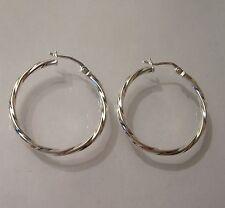 Sterling Silver 925 Twisted Hoop Creole Earrings, Length 3cm,  G5977