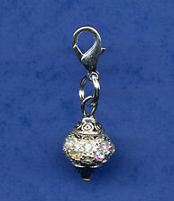 BEAUTIFUL SPARKLING RHINESTONE BEAD & TIBETAN SILVER CLIP ON CHARM SILVER MULTI