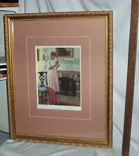 """""""The Letter"""" signed by Thomas R Dunlay Framed and Matted"""