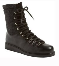 ALBERTO FERMANI ALVARA LEATHER WOOL COMBAT BOOT BLACK SIZE 10.5 (40.5) $535+