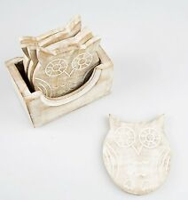 Vintage Set 6 Wooden Owl Coasters In Box Holder Coffee Tea Drinks Chic Shabby