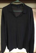 Izod Mens Sweater Shirt Size L Large Gray V-Neck Long Sleeve