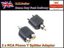 2 x Fono RCA Y Splitter Adattatore Connettore 2 t0 1 Femmina/Maschio Audio Video