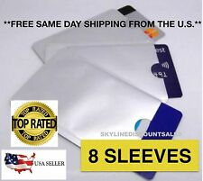 8 PACK HIGH LEVEL RFID Blocking Credit Card Sleeve Protector Shield WaterProof