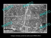 OLD LARGE HISTORIC MILITARY PHOTO COLOGNE GERMANY CITY AERIAL VIEW WWII 1942
