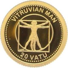 O5007 Vanuatu 20 Vatu Vitruvian Man 2013 OR Gold 999% BE PF PROOF