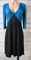 Leona Edmiston Frocks Dress Sz 1 Small 8 10 Black Blue Fit Flare Rockabilly