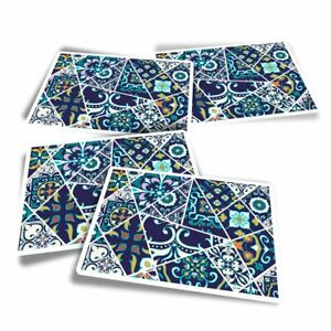 4x Rectangle Stickers - Pretty Blue Mosaic Pattern  #3488