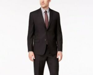 $395 Andrew Marc Black Classic-Fit Stretch Black Micro-Grid Suit Jacket 46R NEW