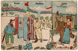 CPA Militaria humoristique. Avant... Pendant... Après