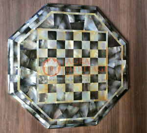 """12"""" Marble Inlaid Mother of Pearls Stone Chess Table Collectible Handmade Gifts"""