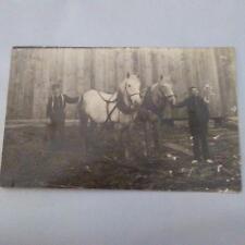 Horses Men Farming or Logging Real Photo Postcard Vintage RPPC