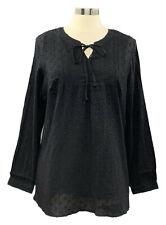 DENIM&CO size M black clip dot long sleeve tunic w/perfect jersey knit tank set