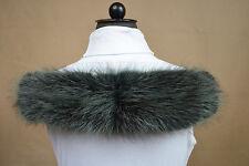 Kapuzenstreifen Pelz Fell Kapuze Kapuzenrand Waschbär gefärbt-dunkelgrün 60 cm