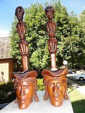 Hand Carved Wood Head Hunter  Totem Pole Statue Man & Woman Art Dipper shaped