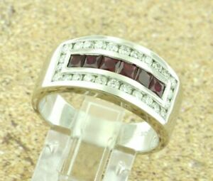 1.80 CT Red Ruby and Diamond Mens Wedding Band Ring Real 14K White Gold Over