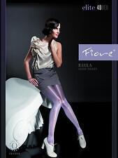 Raula WHITE Gloss tights 40 den MEDIUM Fiore shiny pantyhose Made in Poland