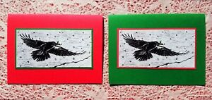 5 Handmade Raven and Holly Christmas Cards Crow Block Print Linocut Set Bird