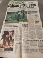 Three vintage newspapers about Reagan Shot 1981.