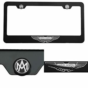 Laser Engrave Aston Martin Logo Mirror Matte Black License Frame Stainless Steel