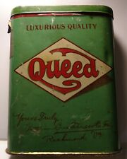 RARE Antique Vintage Queed Tobacco Pocket Tin Richmond VA , GREAT Condition!