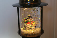 Christmas 25cm Oil Lamp Lantern Style Snow Globe Water Spinner Snowman & Penguin
