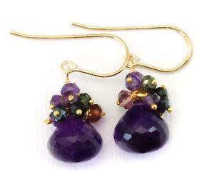 Amethyst Earrings Rich Purple Cluster Simple Dangle Drops Garnet 14k Solid Gold