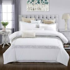 Full/Queen Superior Moonlawn Embroidered Duvet Cover Set 100% Cotton 200 TC