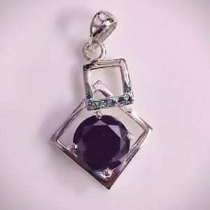 Black 9.25 mm Round Real Moissanite 4 Prong Pendant 925 Sterling Silver