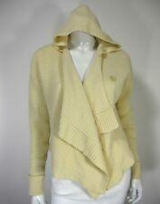 INHABIT Long Sleeve Cashmere Cardigan Sweater Cropped M Medium Cabled Ivory 079