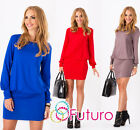 Elegant Women's Mini Dress Boat Neck Long Sleeve Tunic Top Sizes 8-18 8998