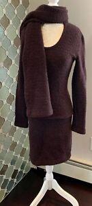 TEHEN Plum Sweater Skirt & Wrap Three Piece Wool Blend FR Size 0/US XS FRANCE