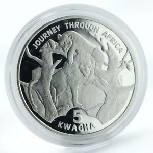 Malawi 5 Kwacha Lion Lioness Journey Through Africa silver proof coin 2006