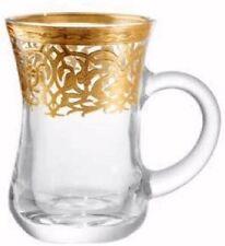 Turkish Tea Glass Set 6 Mugs w/ Handles Gold Band Design (Golden Branch Design)