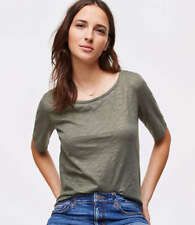 NWT M 8 10 CUTE ANN TAYLOR LOFT SHIMMER VINTAGE SOFT TEE OLIVE TOP SHIRT T GIFT