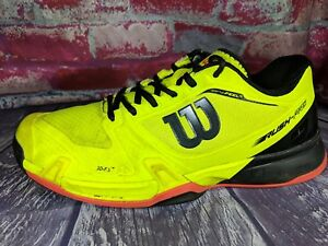 Wilson Rush Pro 2.5 Tennis Court Clay Shoes NEON YELLOW Mens Size 8.5 42 3D-FS