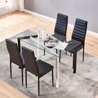 4 Pcs Chairs Glass Dining Table Metal Leg Kitchen Home Decoration Home Furniture