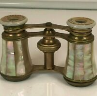 Antique Chevalier Paris Brass and Mother of Pearl Opera Glasses